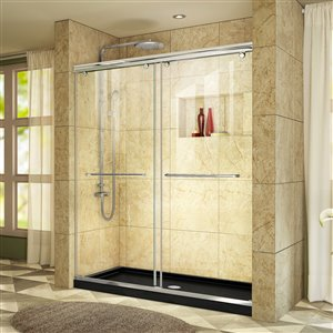 DreamLine Charisma 32-in D x 60-in W x 78-3/4-in H Frameless Bypass Sliding Shower Door and SlimLine Shower Base Kit