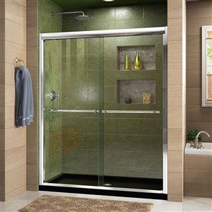 DreamLine Duet 30-in D x 60-in W x 74-3/4-in H Semi-Frameless Bypass Sliding Shower Door and SlimLine Shower Base Kit