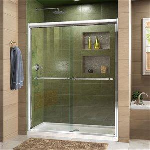 DreamLine Duet 32-in D x 60-in W x 74-3/4-in H Semi-Frameless Bypass Sliding Shower Door and SlimLine Shower Base Kit