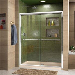 DreamLine Duet 34-in D x 60-in W x 74-3/4-in H Semi-Frameless Bypass Sliding Shower Door and SlimLine Shower Base Kit