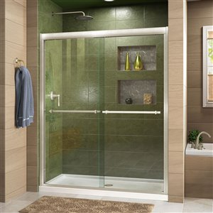 DreamLine Duet 36-in D x 48-in W x 74-3/4-in H Semi-Frameless Bypass Sliding Shower Door and SlimLine Shower Base Kit