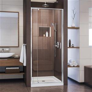DreamLine Flex 32-in D x 32-in W x 74-3/4-in H Semi-Frameless Pivot Shower Door and SlimLine Shower Base Kit
