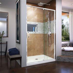 DreamLine Flex 32-in D x 42-in W x 74-3/4-in H Semi-Frameless Pivot Shower Door and SlimLine Shower Base Kit