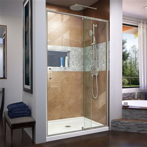DreamLine Flex 32-in D x 42-in W x 74-3/4-in H Semi-Frameless Pivot Shower Door and SlimLine Shower Base Kit