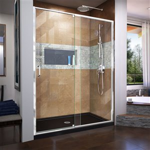 DreamLine Flex 34-in D x 60-in W x 74-3/4-in H Semi-Frameless Pivot Shower Door and SlimLine Shower Base Kit