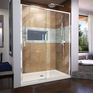 DreamLine Flex 36-in D x 60-in W x 74-3/4-in H Semi-Frameless Pivot Shower Door and SlimLine Shower Base Kit