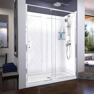 DreamLine Flex 30-in D x 60-in W x 76-3/4-in H Semi-Frameless Pivot Shower Door, SlimLine Shower Base and Backwall Kit