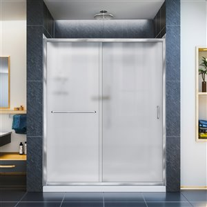 DreamLine Infinity-Z 30-in D x 60-in W x 76-3/4-in H Semi-Frameless Sliding Shower Door, Shower Base and QWALL-5 Backwall Kit, Frosted Glass