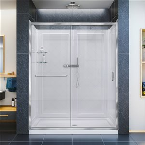 DreamLine Infinity-Z 32-in D x 60-in W x 76-3/4-in H Semi-Frameless Sliding Shower Door, Shower Base and QWALL-5 Backwall Kit, Clear Glass