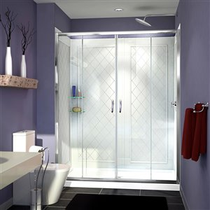 DreamLine Visions 34-in D x 60-in W x 76-3/4-in H Semi-Frameless Sliding Shower Door, Shower Base and QWALL-5 Backwall Kit