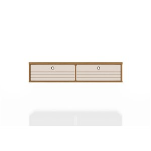 Manhattan Comfort Liberty Floating Office Desk - 42.28-in - Cinnamon Brown/Off-White