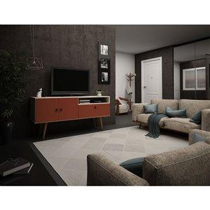 Manhattan Comfort Tribeca TV Stand - 53.94-in - Off-White and Terra Orange Pink