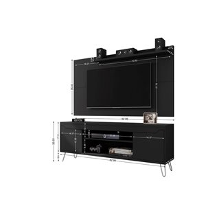 Manhattan Comfort Baxter and Liberty TV Stand and Panel - 62.99-in - Black