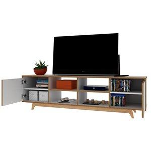 Manhattan Comfort Jones TV Stand - 63-in - White and Pine Wood