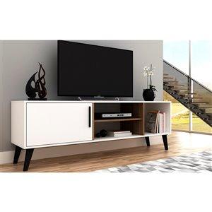 Manhattan Comfort Amsterdam TV Stand - 63-in - White and Oak