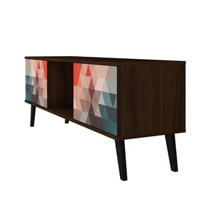 Manhattan Comfort Doyers TV Stand - 53.15-in - Brown, Red and Blue
