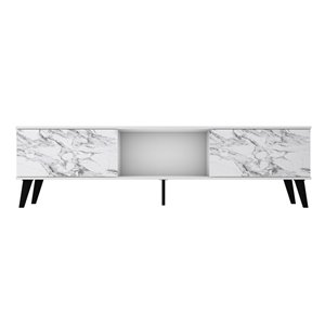 Manhattan Comfort Doyers TV Stand - 78.87-in - White Marble