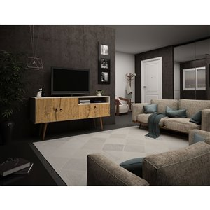 Manhattan Comfort Tribeca TV Stand - 53.94-in - Off-White and Natural Brown