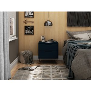 Manhattan Comfort Rockefeller 2.0 Nightstand - 21.65-in - Midnight Blue