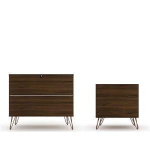 Manhattan Comfort Rockefeller Dresser and Nightstand Set - 28.86-in - Brown
