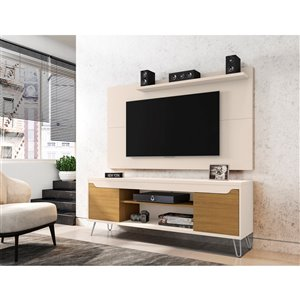 Manhattan Comfort Baxter and Liberty TV Stand and Panel - 62.99-in - Off-White/Brown