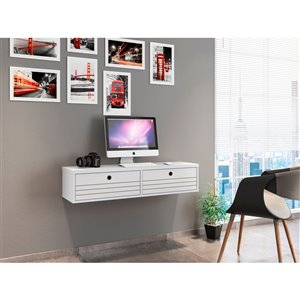 Manhattan Comfort Liberty Floating Office Desk - 42.28-in - Glossy White