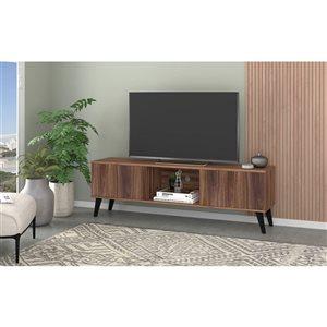 Manhattan Comfort Doyers TV Stand - 62.2-in - Nut Brown
