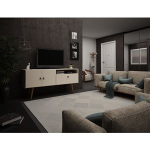 Manhattan Comfort Tribeca TV Stand - 53.94-in - Off-White