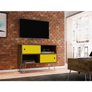 Manhattan Comfort Baxter TV Stand - 35.43-in - Rustic Brown and Yellow