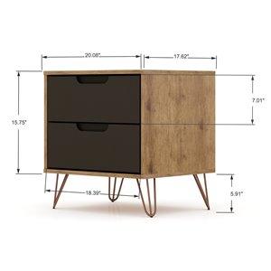 Manhattan Comfort Rockefeller Dresser and Nightstand Set - 28.86-in - Natural Brown and Grey