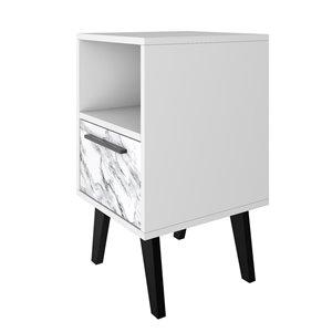 Manhattan Comfort Amsterdam Nightstand - 23.03-in - White Marble