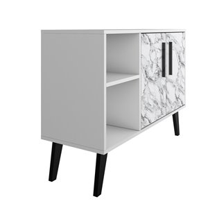Manhattan Comfort Amsterdam TV Stand - 35.43-in - White Marble