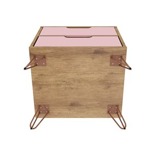 Manhattan Comfort Rockefeller 2.0 Nightstand - 21.65-in - Natural Brown and Pink