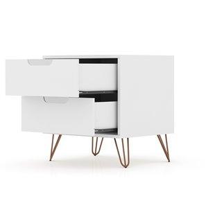 Manhattan Comfort Rockefeller 2.0 Nightstand - 21.65-in - White