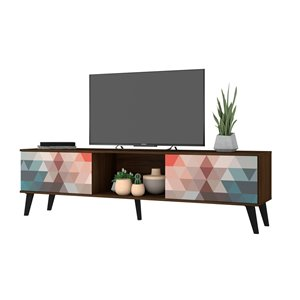 Manhattan Comfort Doyers TV Stand - 78.87-in - Brown, Red and Blue