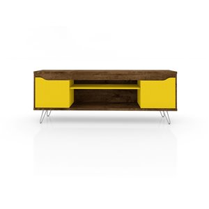 Manhattan Comfort Baxter and Liberty TV Stand and Panel - 62.99-in - Rustic Brown and Yellow