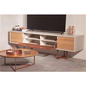 Manhattan Comfort Knickerbocker TV Stand - 81.1-in - Cinnamon Brown and Off-White