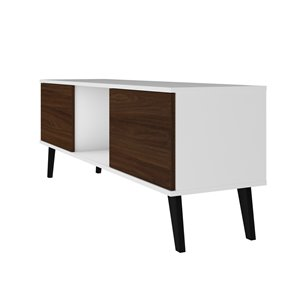 Manhattan Comfort Doyers TV Stand - 53.15-in - White and Nut Brown