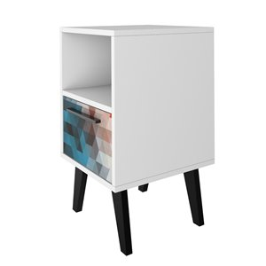 Manhattan Comfort Amsterdam Nightstand - 23.03-in - White and Red
