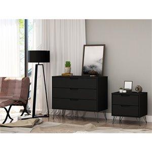 Manhattan Comfort Rockefeller Dresser and Nightstand Set - 28.86-in - Black