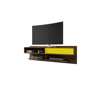 Manhattan Comfort Astor Entertainment Center- 70.86-in - Rustic Brown and Yellow