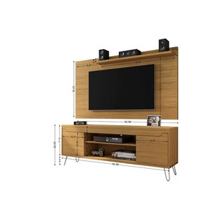 Manhattan Comfort Baxter and Liberty TV Stand and Panel - 62.99-in - Cinnamon Brown