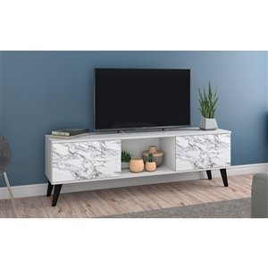 Manhattan Comfort Doyers TV Stand - 62.2-in - White Marble