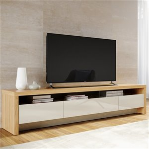 Manhattan Comfort Sylvan TV Stand - 70.86-in - Natural Wood and Off-White