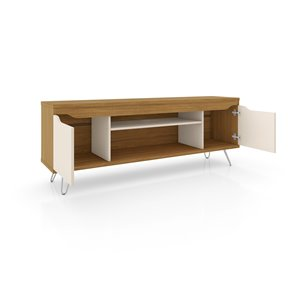 Manhattan Comfort Baxter and Liberty TV Stand and Panel - 62.99-in - Cinnamon Brown and Off-White