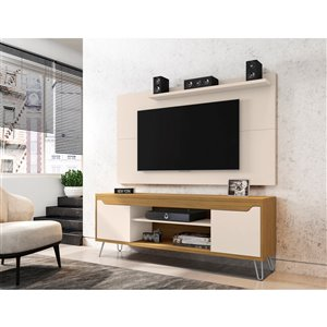 Manhattan Comfort Baxter and Liberty TV Stand and Panel - 62.99-in - Off-White/Cinnamon Brown