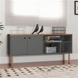 Manhattan Comfort Windsor TV Stand - 53.62-in - Grey and Natural Wood