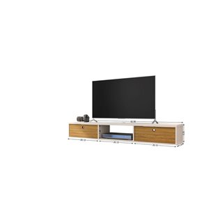 Manhattan Comfort Liberty Entertainment Center- 62.99-in - Off-White and Cinnamon Brown