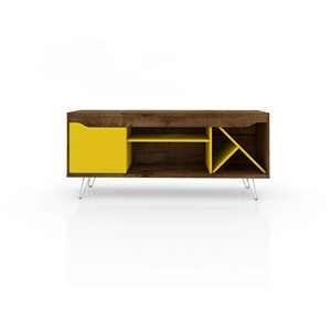 Manhattan Comfort Baxter TV Stand - 53.54-in - Rustic Brown and Yellow