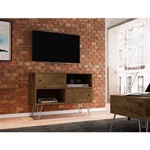 Manhattan Comfort Baxter TV Stand - 35.43-in - Rustic Brown